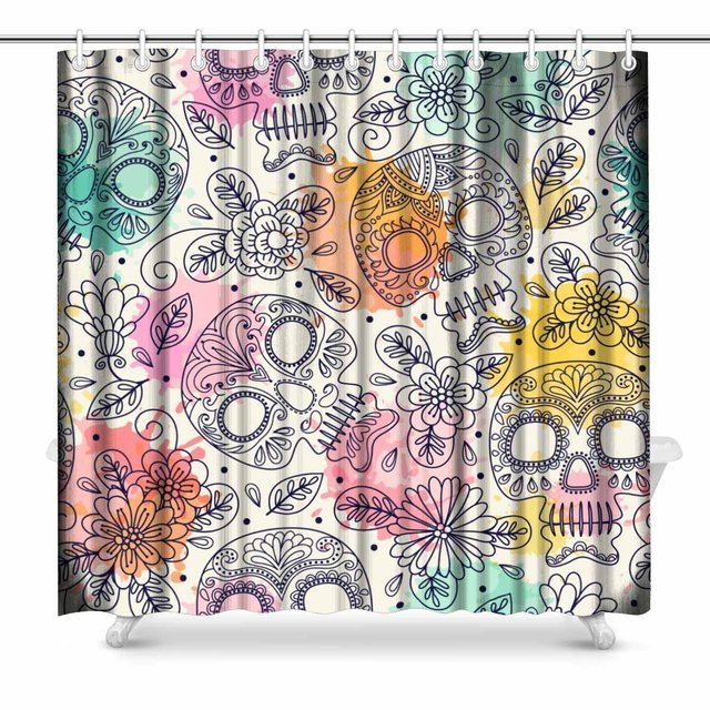 Aplysia Skull And Flowers Country House Image Mexican Day Of The Dead  Fabric Bathroom Decor Shower Curtain Set With Hooks