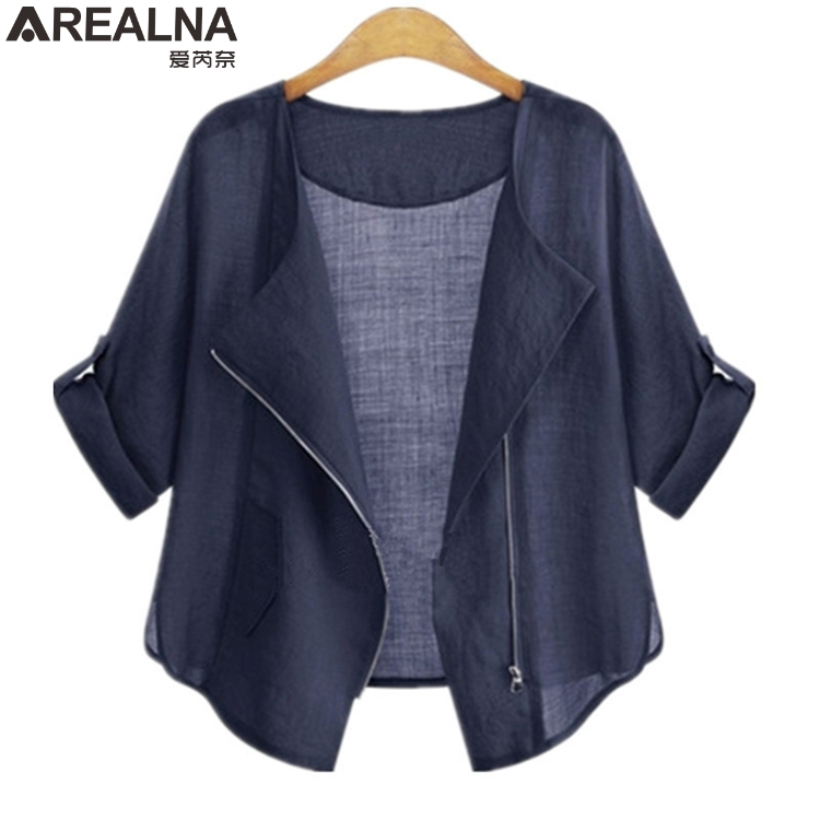 AREALNA autumn fashion   Basic     Jacket   Zipper Outwear kimono cardigan Casual   jacket   women cotton coat chaqueta mujer Plus Size 5XL