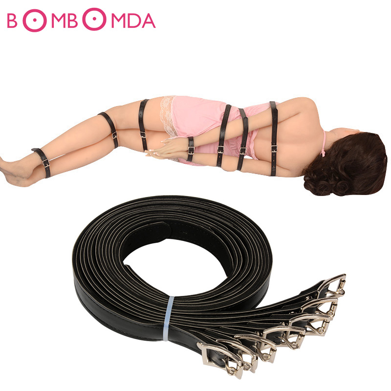 Erotic Toys Love 7pcs Black Restraint Bondage Fetish Sex Products Hand & Leg Bdsm Bondage Sex Toys For Couples Adult Games O3 1pc adapter pl259 uhf plug male nickel plating to bnc female jack nickel plating rf connector straight vc668 p0 5