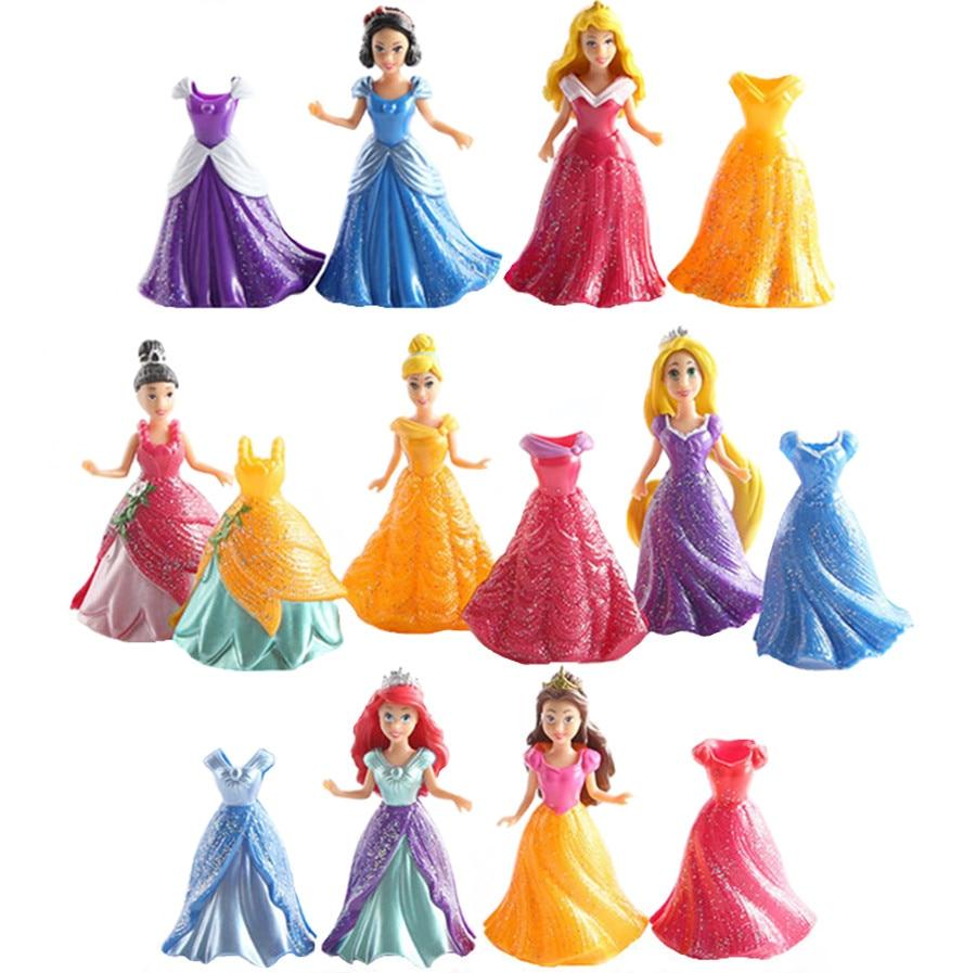 Princess MagiClip Easy Dress 7 Dolls 14 Dresses Figures Play Set Rapunzel Little Mermaid Snow White Cinderella Belle Girls Toys