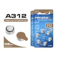 New high quality 48Pcs ZA312 312A P312 coin cell battery 1.45V for hearing aid zinc air button battery
