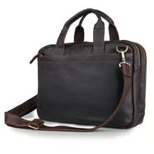 Men's Leather Briefcase Business Handbag Excelent Genuine Cowhide Double Compartment Dark Brown Fit for 15 inch Laptop PR067092