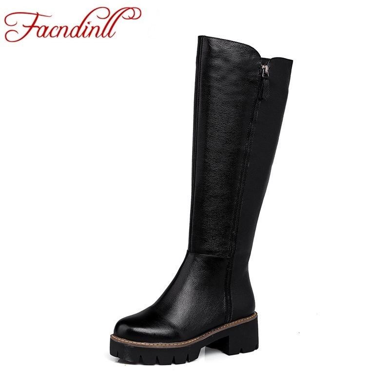 ФОТО plus size winter warm snow boots short plush women knee high boots real leather fashion zip new female thick heels tall boots
