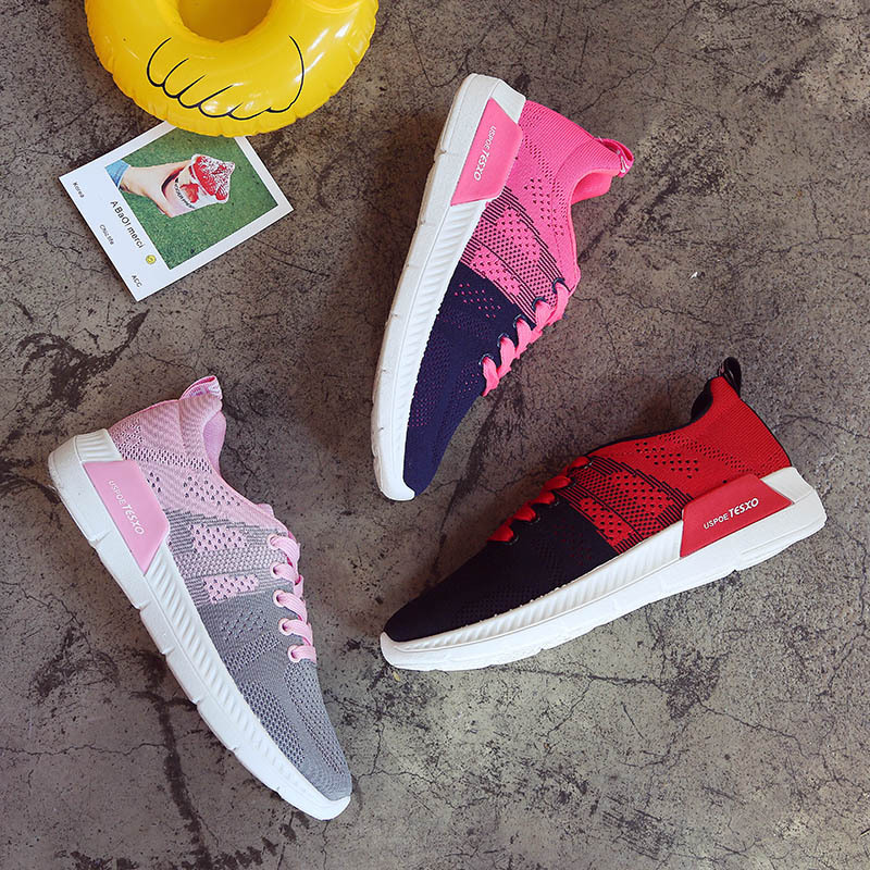 Walking Shoes Woman Blue Patchwork Sport Shoes Arder Allmatch Lace Up Shoes For Women Sneakers Flat Net Track Shoes