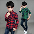 2016 Children Clother Fashion Spring Autumn Boys Plaid Shirt Turn-down Collar Casual Thin Long-Sleeved Shirts For Boys