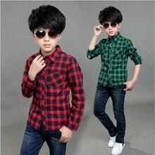 2016 Children Clother Fashion Spring Autumn Boys Plaid Shirt Turn-down Collar Casual Thin Long-Sleeved Shirts For Boys