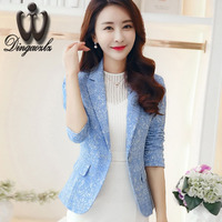 2016 Autum Female Outerwear Fashion Women Blazer Jacquard Suit Jacket Slim One Button Long Sleeve Women