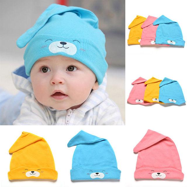 Kawaii dibujos animados oso imprimir bebé gorro Beanie primavera niños niño  chica algodón sombrero heardwear bebes a49cdde5ef4