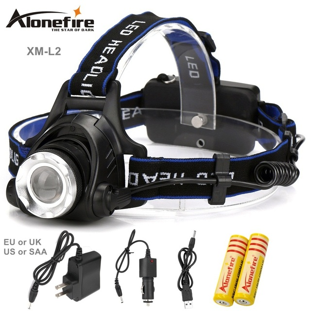 AloneFire HP79 LED Headlight CREE L2 headlamp zoom 18650 Head lights lamp 2200lm XM-L2 Rechargeable zoomable LED light
