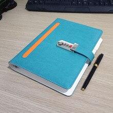 Новий шкіряний ноутбук Sprial Щоденник з блокуванням коду BussinessNotepad 100 листів м'яка обкладинка канцелярські товари подарунки