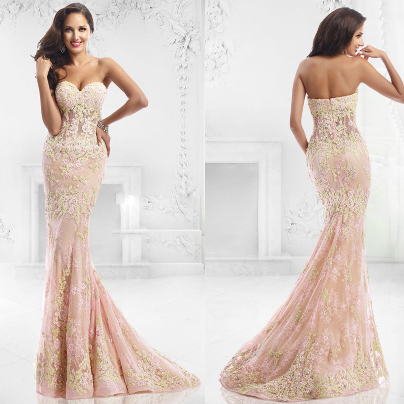 Hot Sale 2015 New Fashion Sleeveless Lace Appliques Light Pink Prom ...