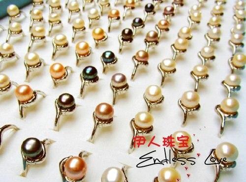 Смешанный цвет! Модные пресноводные 8-9 мм жемчужное кольцо ювелирные изделия, красивые украшения для пальцев вечерние аксессуары подарок 36 шт./Партия