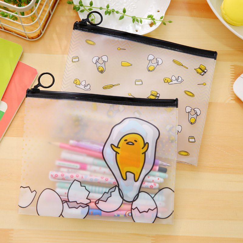 Novelty Cartoon Egg PVC PVC File Bag Pencil Case File Folder Documents Filling Bag Office School Supplies