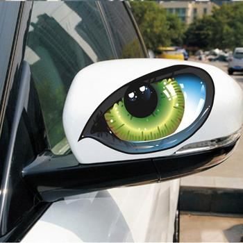 1 Pair 3D Funny Reflective Green Cat Eyes Car Stickers Truck Head Engine Rearview Mirror Window Cover Door Decal Graphics New image