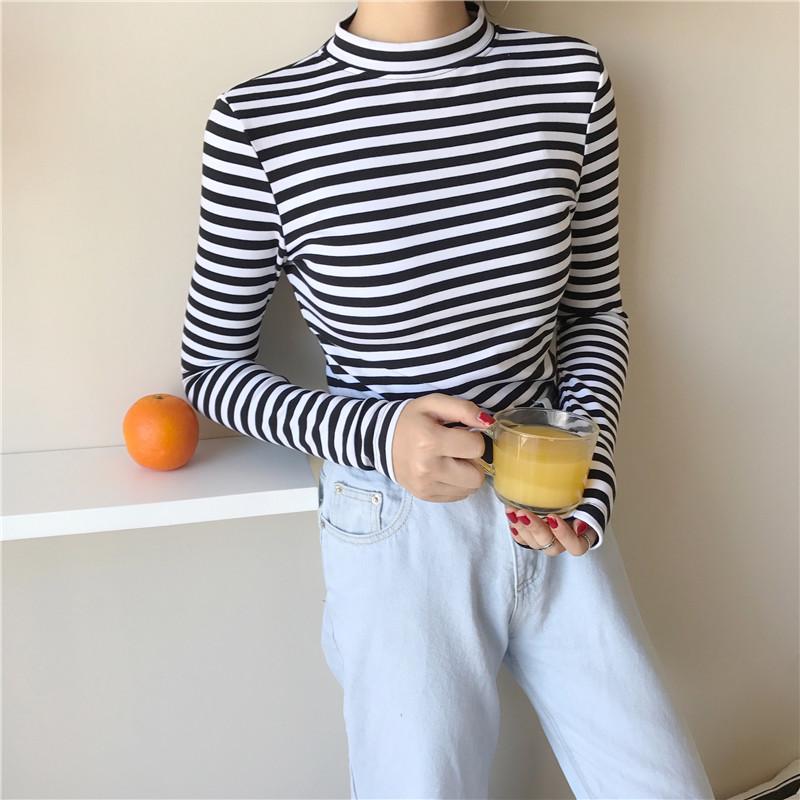 19 Korean Style Long Sleeve T Shirts Women New Hot Sale Student T-shirt Womens Fashion Harajuku Striped Female Slim Femme Lady 6