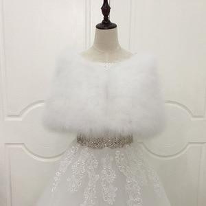 Image 5 - JaneVini 2019 女性ボレロダチョウの羽の毛皮ラップブライダルケープ結婚式の冬パーティーショールピンクマント Etole を Fourrure