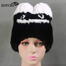 Glaforny 2017 New Arrival Genuine Rex Rabbit Fur Hats Cartoon Cute Fur Beanies Fashion Fur Caps(China)