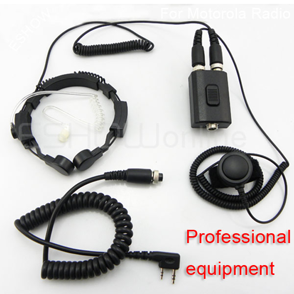 ФОТО Professional Military Police Equipment Throat Mic Air Tube equipamento Headset for Kenwood TH-F7 46 3207 New Black C0038A