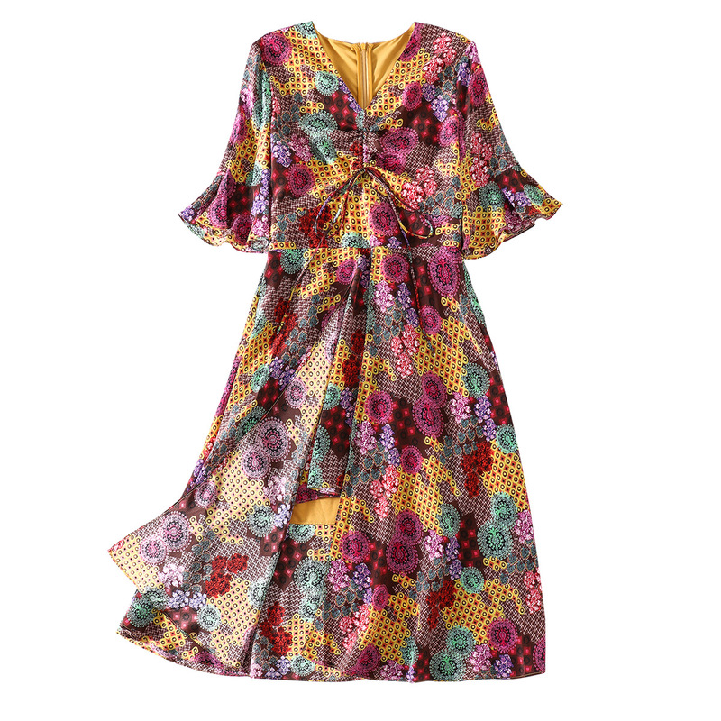 100 Silk Print Fake Two Flare Sleeve Big Swing Beach Party Dress 2019 New Women Summer Bohemian A Line Dress in Dresses from Women 39 s Clothing