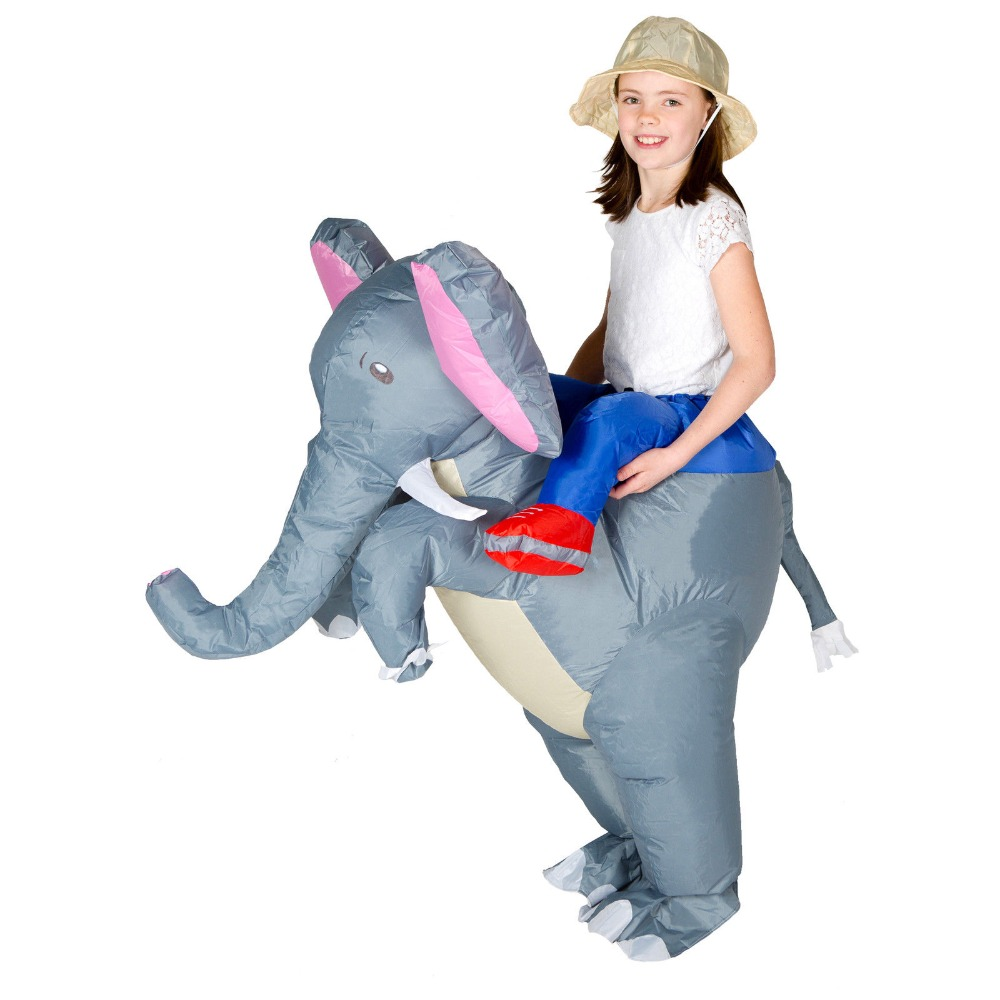 Inflatable Elephant Costume Party Carnival Cosplay Dress Halloween Blow Up Suit Chub Animal Mascot for Women Men Kid Purim Xmas