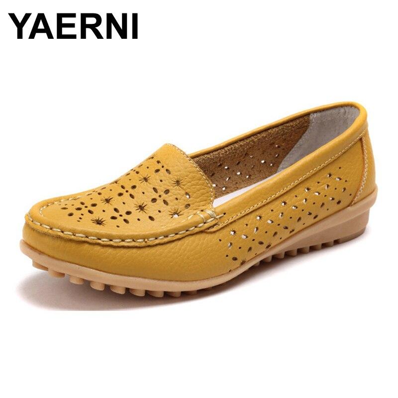 jaune Cuir Lady 617 Yaerni Femme Chaussures Doux blanc D'été Appartements Bsn Femmes Confortable Mocassins Véritable Noir Ballerine rouge Évider Plates HEnrFEqOx