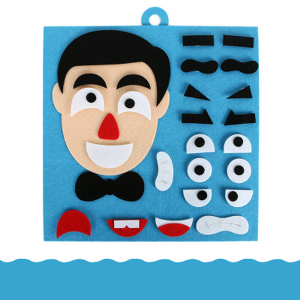 DIY Creative Dad Mom Family Facial Expression Puzzle Parent-Child Game Toy Children Early Education Fabric Material Hand Tool