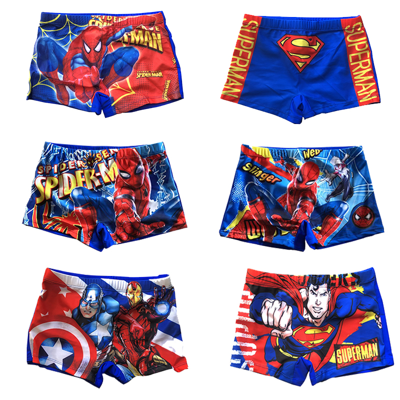 Boys Swim Trunks Spiderman&Superman&Captain American Children Swimsuit For Kids Boy Swimming Shorts With Lining Swim Pants 4-8Y