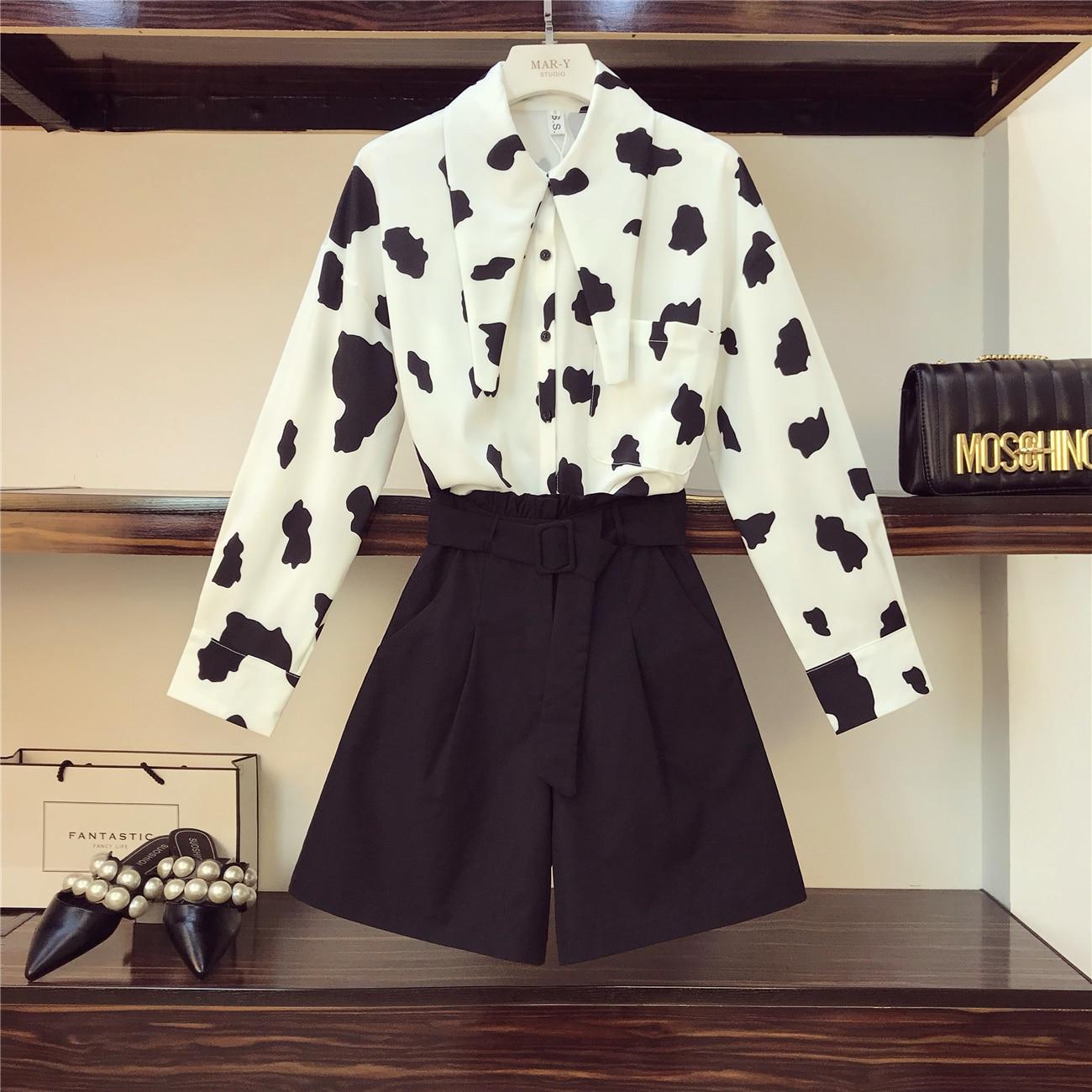 2019 printemps nouvelle mode froide déesse vache impression chemise + taille haute ensemble short et haut dans les deux pièces des femmes ensemble étudiants tenues