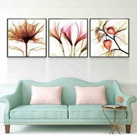 Triptych Impressionist Flower Oil Painting Retro Canvas Fabric Artwork Poster Wall Art Canvas Print For Bedroom