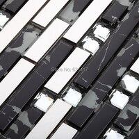 long strip black glass mixed stainless steel metal mosaic tiles kitchen backsplash mosaic bathroom shower mosaic swimming pool