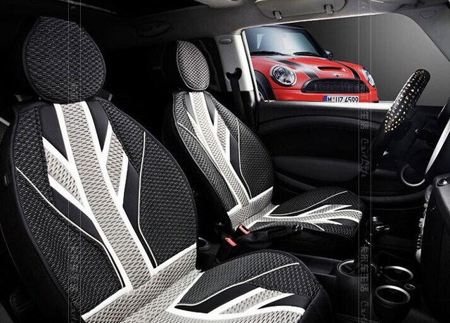 Grey Union Jack Summer Car Seat Covers For Mini Cooper Interior