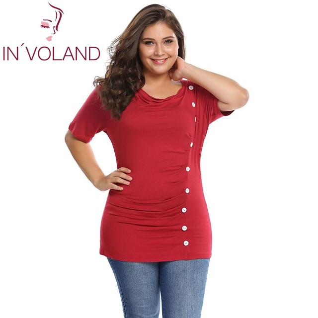78a03edaa IN'VOLAND Plus Size 5XL Women T-Shirt Tops Draped Cowl Neck Pullovers Short  Sleeve Front Button Ruched Tshirt Tees Large Size