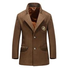 Мужская зимняя шерсть вышивка пальто мужской пиджак коричневый пальто peacoat манто homme hombre лана abrigo jaqueta masculina inverno