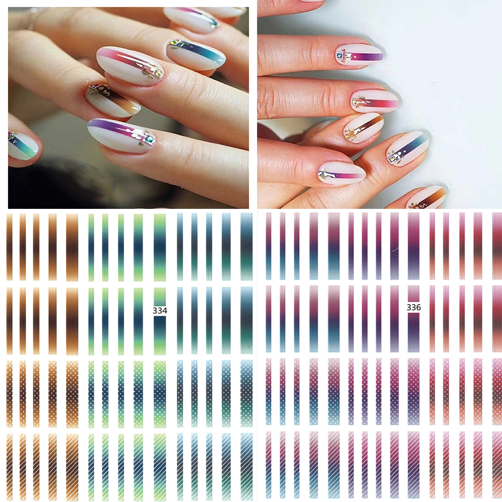 1 sheet  Gradient Striped Lines Nail  Decals Nail Stickers Colorful Line Adhesive Decals Sticker Decals Z0150