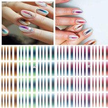 1 sheet  Gradient Striped Lines Nail Decals Stickers Colorful Line Adhesive Sticker Z0150