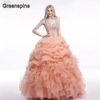 In Stock Beaded Ruffled Sleeveless Sweetheart Organza Mint Green Coral Quinceanera Dresses Ball Gown Girl Sweet
