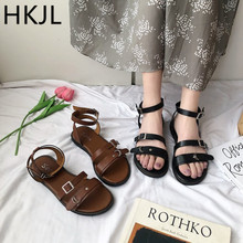 HKJL One word with sandals shoes female 2019 new students wedges Roman fairy wind flat joker summer A199