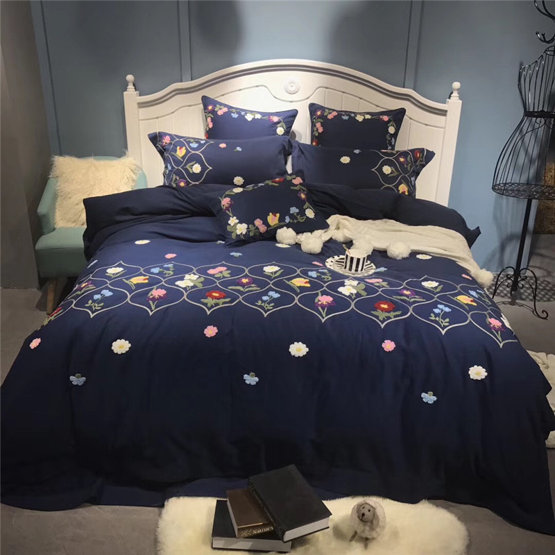 Blue Pastoral Style Delicate Flower Embroidery 100% Sanding Cotton Bedding Set Duvet Cover Bed Linen Bed sheet Pillowcase 4/7PcsBlue Pastoral Style Delicate Flower Embroidery 100% Sanding Cotton Bedding Set Duvet Cover Bed Linen Bed sheet Pillowcase 4/7Pcs