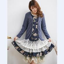 bohemian lolita patchwork tunic gatsby vintage bsk mori girl azul vestido branco curto robes femmes winter autumn women dress