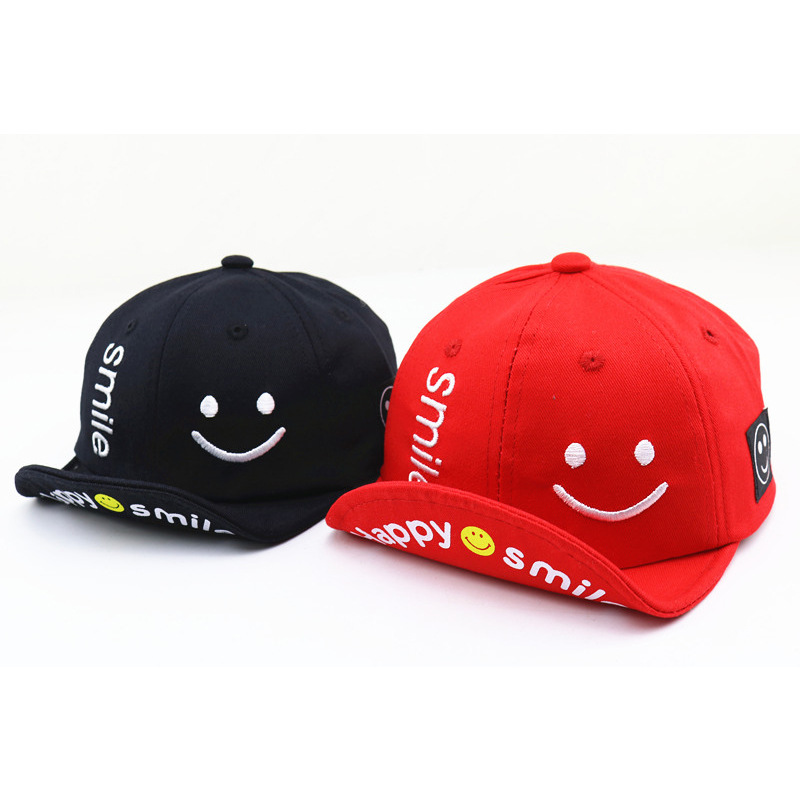 Baby Cuffed Baseball Caps Cute Style Children Spring Outdoor Smiley Cotton Cap Fashion Baseball Cap Kids Hat Boys And Girls in Men 39 s Baseball Caps from Apparel Accessories