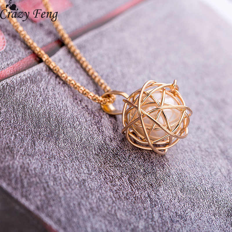 2018 Charm Imitation Pearl Pendant Necklace For Women Geometric Ball Gold Color Long Sweater Chain Wedding Necklace Jewelry