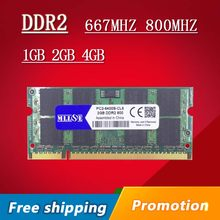 MLLSE 1gb 2gb 4gb DDR2 DDR 2 667 800 667mhz 800mhz PC2-5300 PC2-6400 sodimm so-dimm sdram Memory Ram Memoria For Laptop Notebook(China)