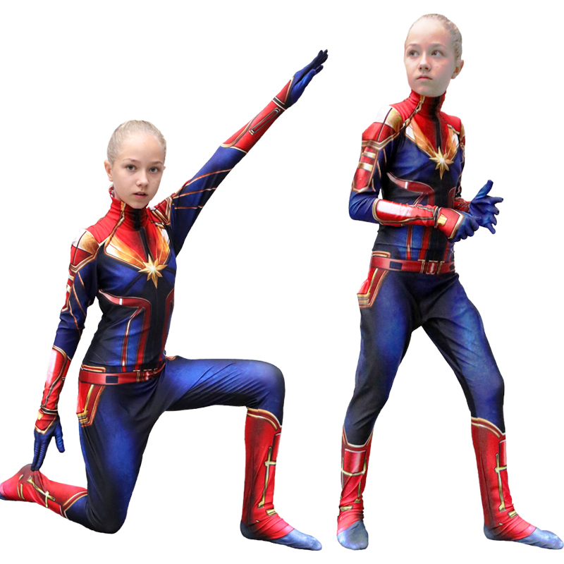 New Arrival Captain Girls Cosplay Costume Children Superhero Ms Marvel Carol Danvers Bodysuit Jumpsuit Halloween Kids