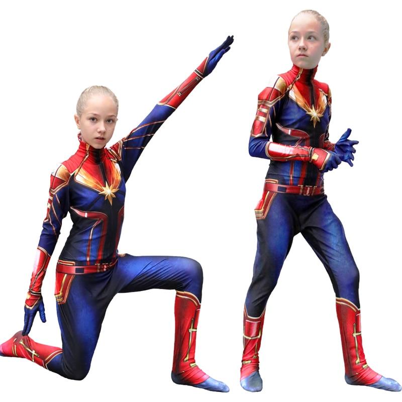 New Arrival Captain Girls Cosplay Costume Children Superhero Ms Marvel Carol Danvers Bodysuit Jumpsuit Halloween Kids