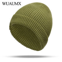 b183e030972 Wuaumx High Quality Winter Hats For Women Solid Black Red White Skullies  Beanies Hat Warm Knitted Cap For Ladies czapka zimowa