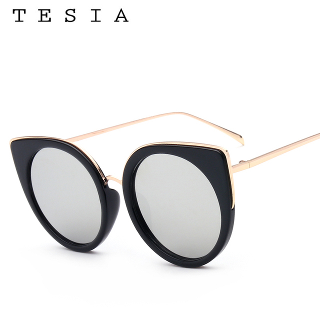 4773a739d5 TESIA Unique Cat Eye Sunglasses Female Flat Panel Mirror Glasses Women 100%  UVA UVB Quality