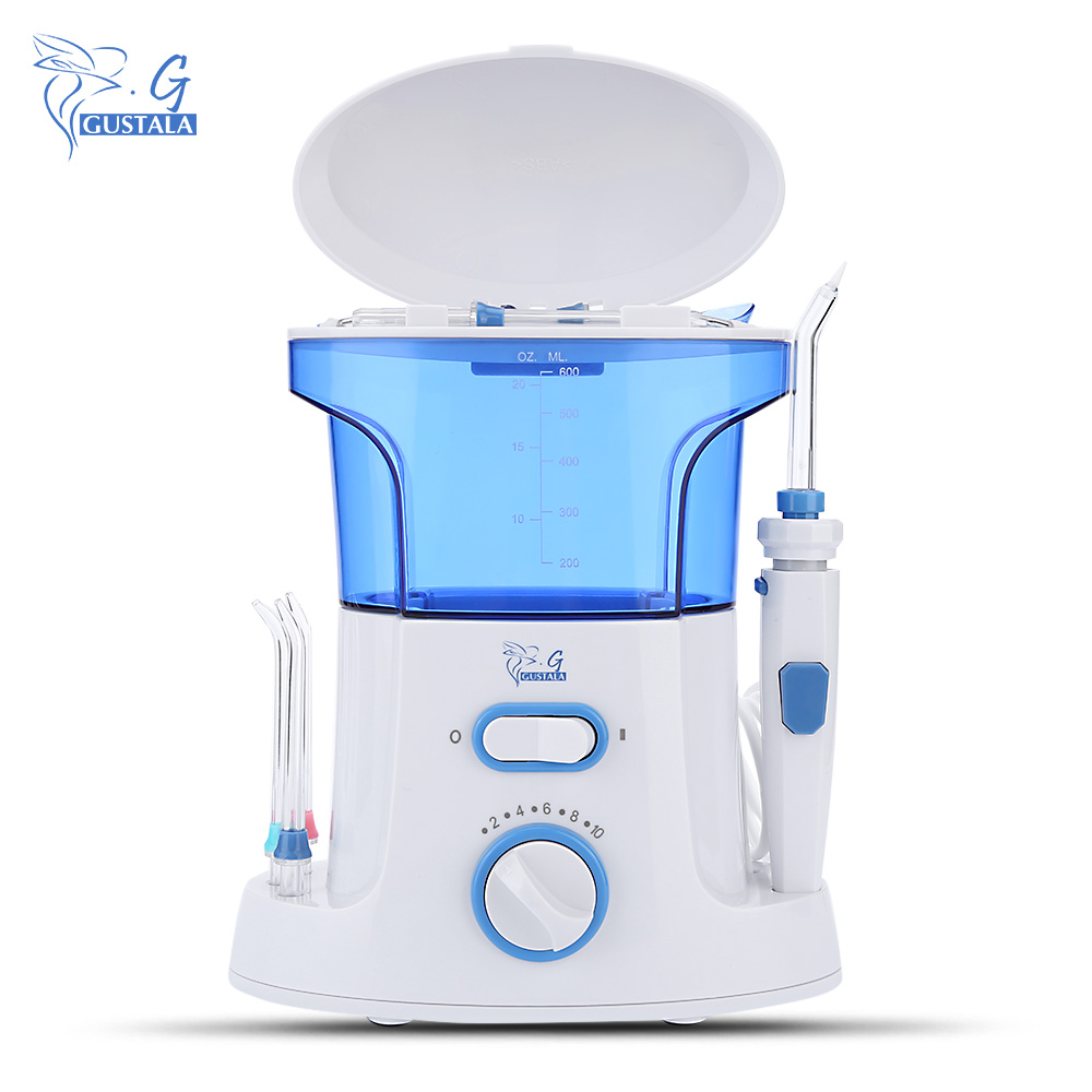 Gustala 600ml Dental Flosser Oral Irrigator Portable Water Oral Floss Dental Irrigator Floss Dental Teeth Care Oral Hygiene Set dental flosser portable dental irrigator water oral floss dental care 7pcs tips electric oral teeth cleaning water tank 600ml