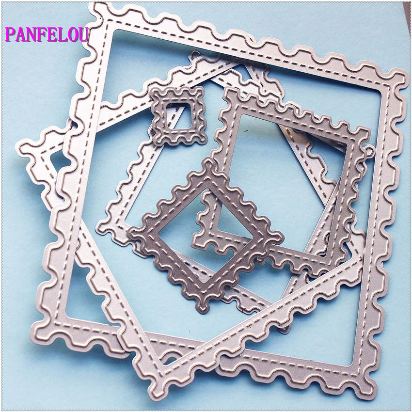 PANFELOU Metal craft Saw a square paper <font><b>die</b></font> <font><b>cutting</b></font> <font><b>dies</b></font> for Scrapbooking/DIY <font><b>Christmas</b></font> wedding Halloween Easter cards image
