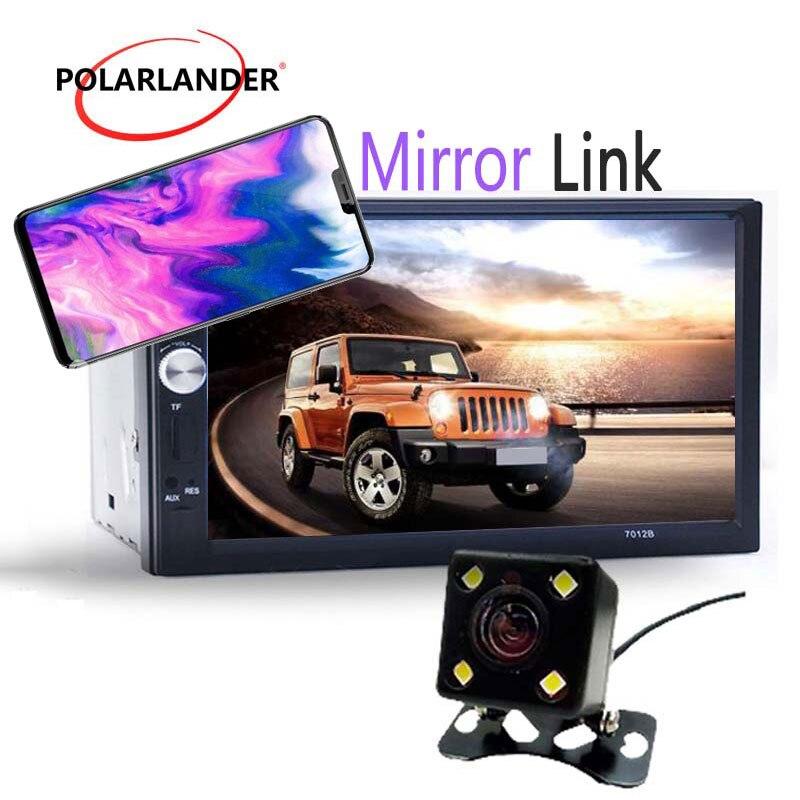 12 V 7 pouces voiture numérique MP4 MP5 lecteur USB SD AUX FM Bluetooth 2 Din stéréo voiture Radio caméra écran tactile miroir lien
