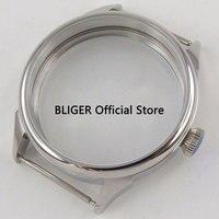 42mm bliger 316l aço inoxidável temperado vidro caber 6497 6498 movimento relógio masculino caso ca137